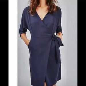 TOPSHOP navy  wrap midi dress 8